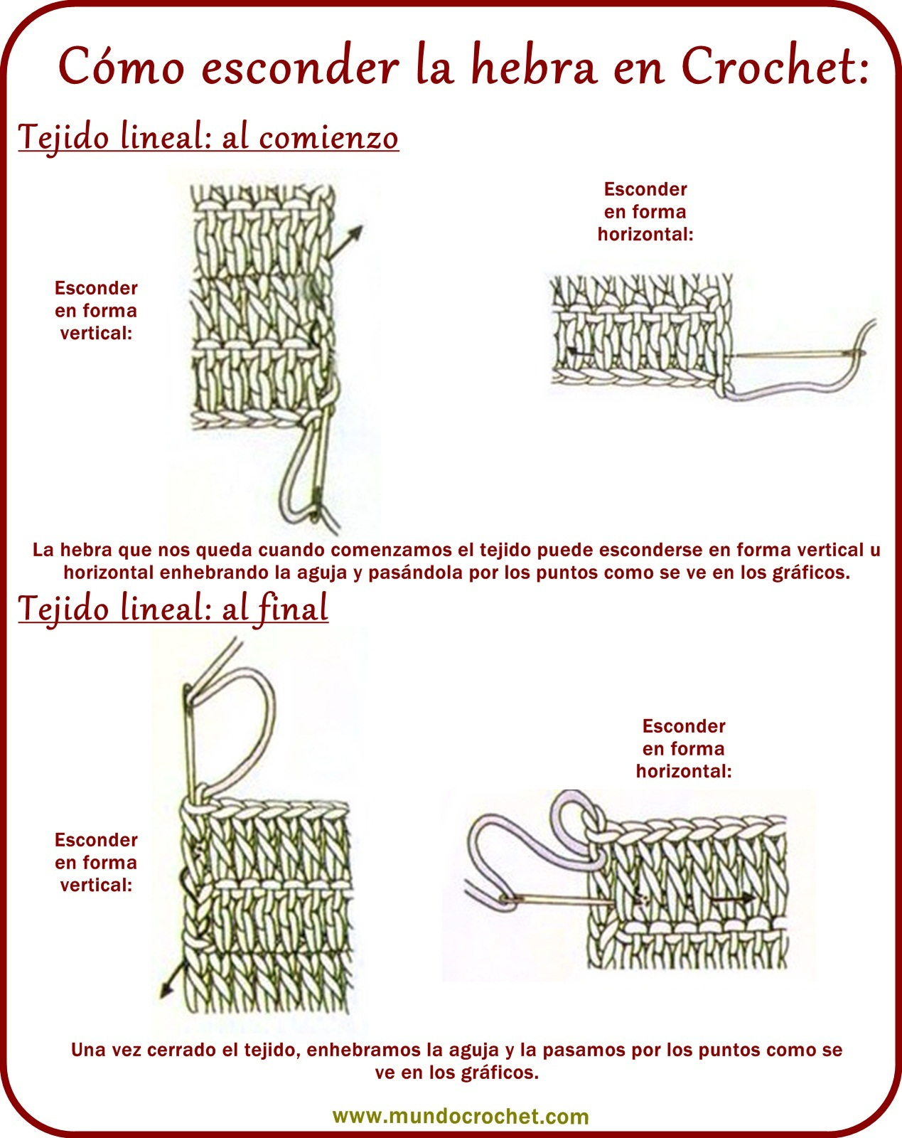 Esconder hebra en crochet