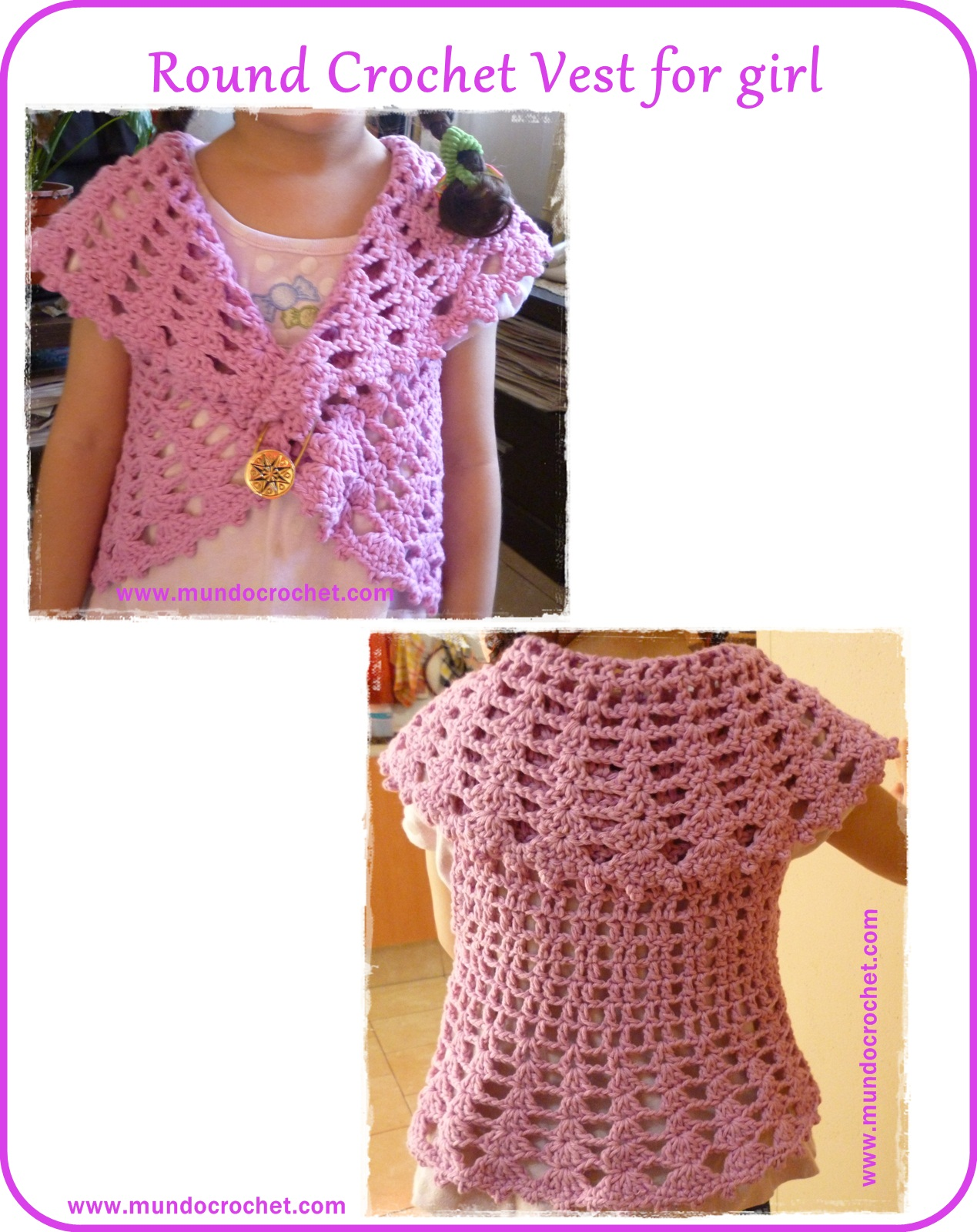 Round crochet vest for girl
