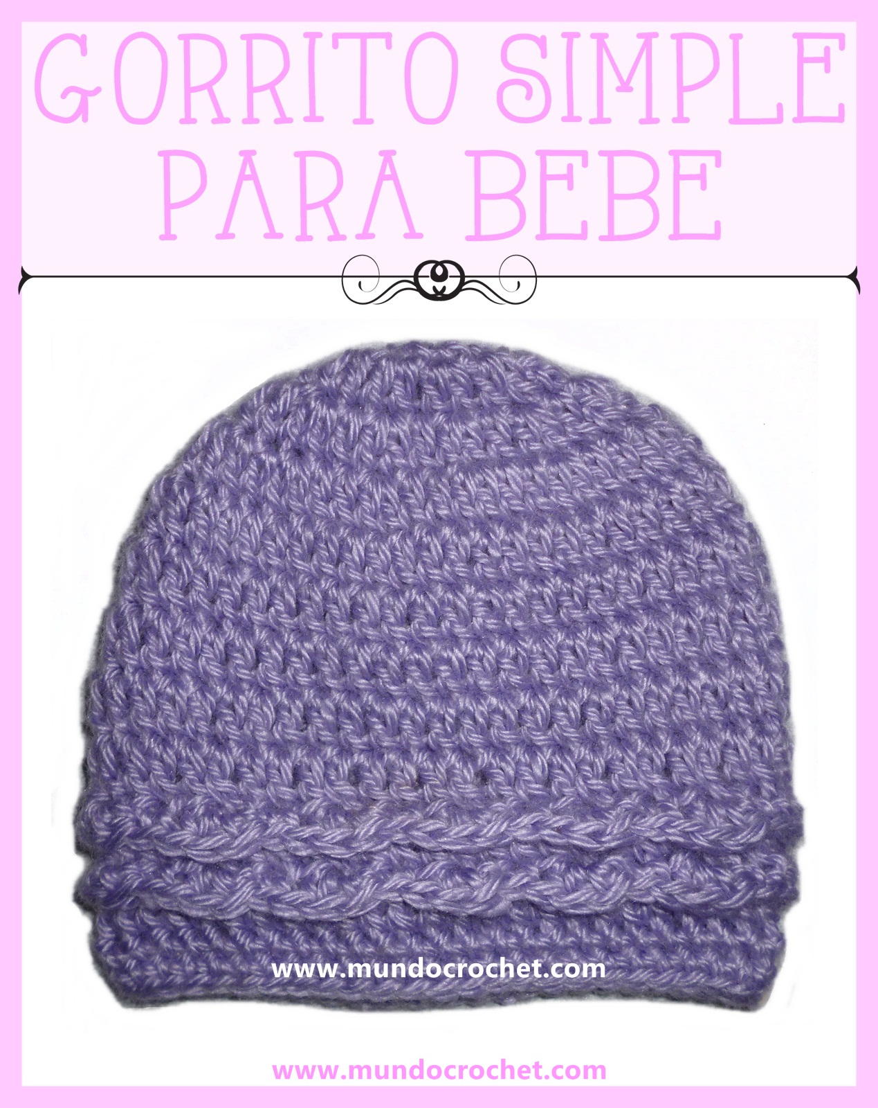 Gorro simple para bebe a Crochet