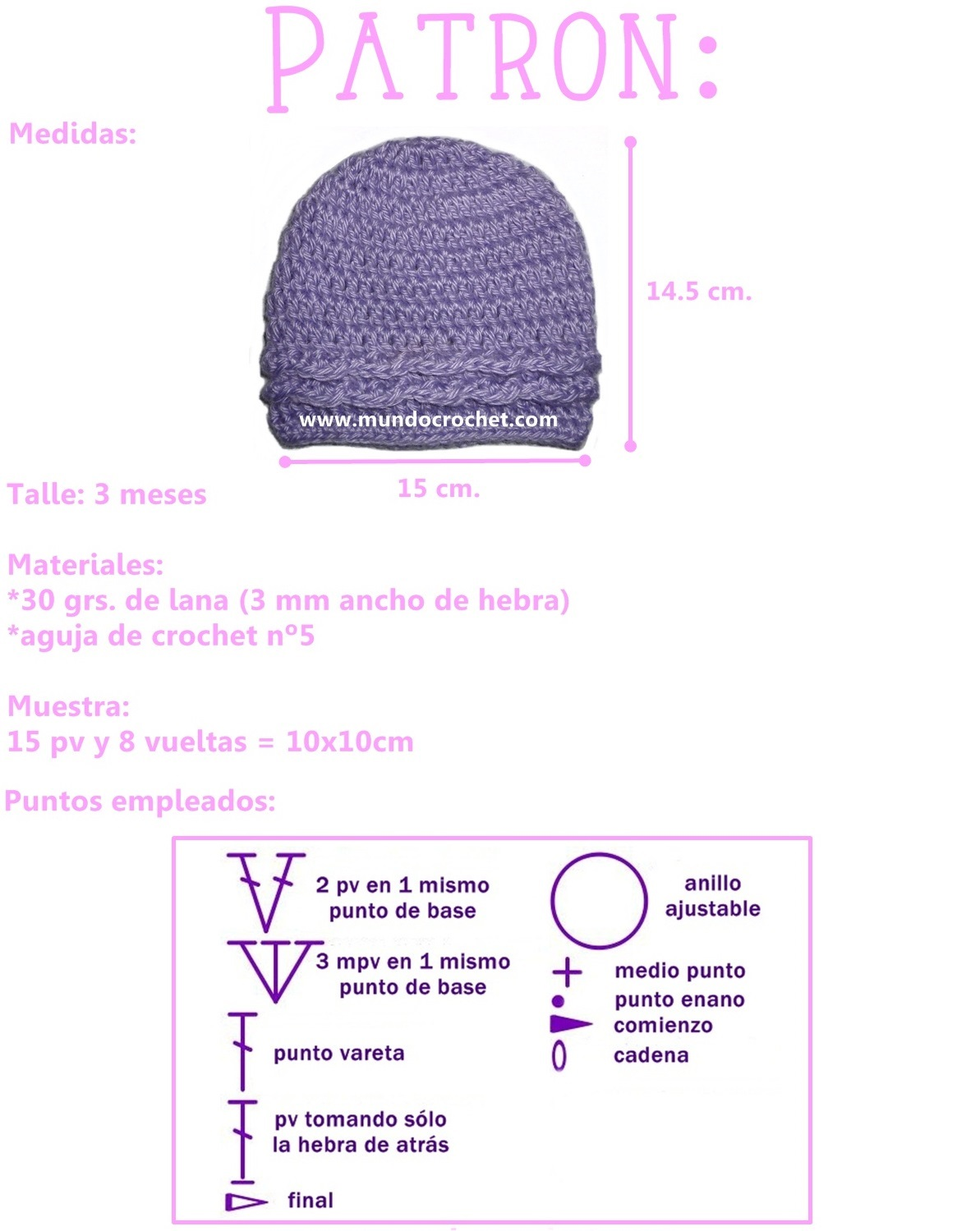 Patron gorro simple para bebe a crochet o ganchillo01 - Mundo Crochet