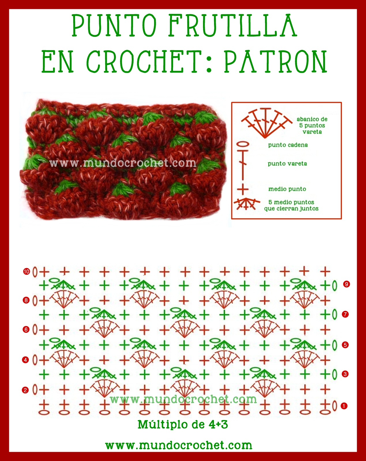 Punto frutilla crochet ganchillo-Strawberry stitch crochet