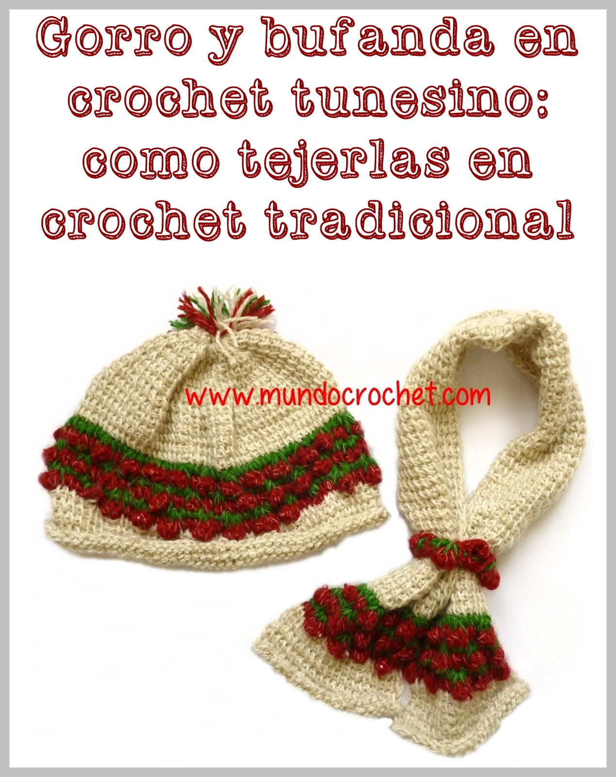gorro bufanda punto frutilla o strawberry stich crochet o ganchillo